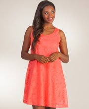 Ellen Parker Sleeveless A-line Lace Dress in Coral