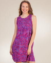 A-Line Batik Dress - Sleeveless Short Eagle Ray Dress in Island Sunset