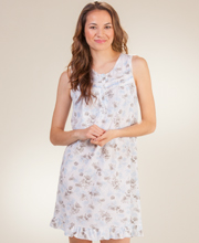 Short Nightgown - Sleeveless Cotton-Rich Knit in Shadow Blue