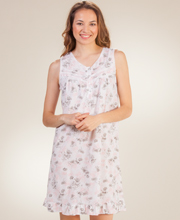 Short Knit Nightgown - Sleeveless Cotton-Rich Gown in Shadow Pink