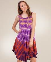 Plus Beach Coverup - Sleeveless Tie-Dye Cotton Dress - Bohemian Majestic