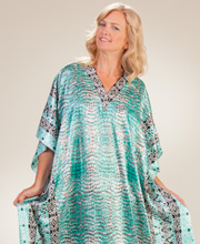 Women's Long Caftans - Winlar Satin Charmeuse Lounger in Mint Tropic