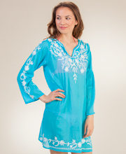 Cotton Beach Tunics - Long Sleeve Notched Round Neckline in Turquoise