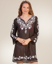 Plus Cotton Beach Tunics - Notched Round Neckline Long Sleeve in Black