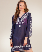 Beach Tunics - Long Sleeve Notched Round Neckline Cotton Top in Navy