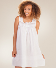 Cotton Nightgowns - Short Eileen West Sleeveless White Gown - Estival