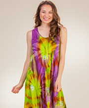 Beach Dress - Rayon Sleeveless One Size Long Dress in Lime Burst