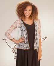 One Size Misses Polyester Crocheted Lace Open Cardigan in Amber Breeze