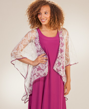 Polyester Crocheted Lace Open Front Misses Cardigan in Garnet Breeze
