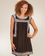 Rayon Dress - Sleeveless Short Embroidered Beach Shift in Roma Black