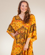 Plus Size V-Neck Rayon Sante Long Fringed Caftans - Moroccan Splash