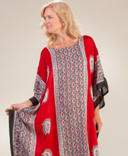 Plus Loungers - Sante Rayon Fringed Hemline Kaftan - Powerful Paisley