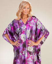 Long Satin Kaftan - Winlar One Size Fits Most in Violet Veranda