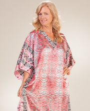 Satin Caftans - Charmeuse Winlar Long One Size Lounger - Rose Tropic