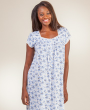 Eileen West Cotton-Modal Knit Cap Sleeve Nightgown in Indigo Twist