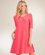Ellen Parker A-Line Dress with Elbow Length Sleeves in Coral