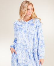 Lanz of Salzburg - Round Neck Microfleece Nightgown in Dreamy Indigo