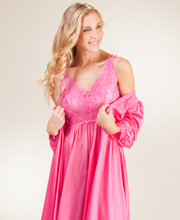 Shadowline Peignoir Set - Silhouette Nightgown Robe Set in Raspberry