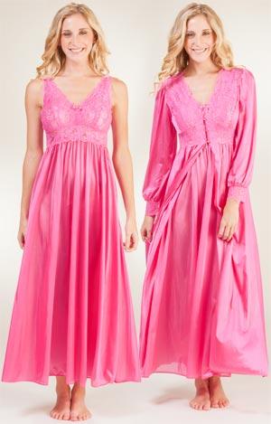 b98bb571f Shadowline Peignoir Set - Silhouette Nightgown Robe Set in Raspberry