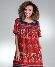 La Cera Short Sleeve Cotton Float Dress - Lounger Caftan in Garden Spice