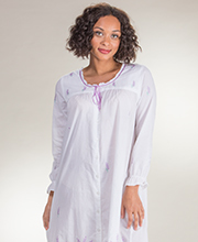 Cotton La Cera Robe - Long Button-Front Robe in Lavender Grove