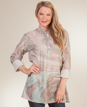 Long Sleeve Tunic Top - 100% Cotton Blouse in Clay