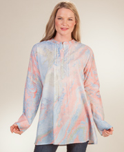 Women's Tunic Tops - Long Sleeve 100% Cotton Blouse in Granite