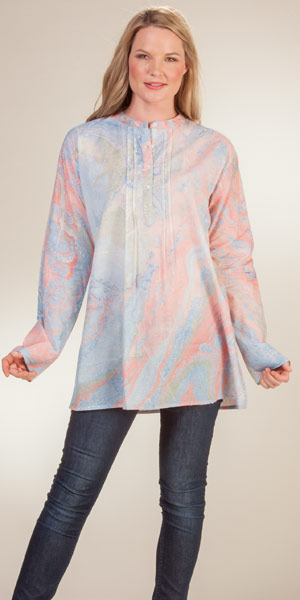 d968a71390d Women s Tunic Tops - Long Sleeve 100% Cotton Blouse in Granite