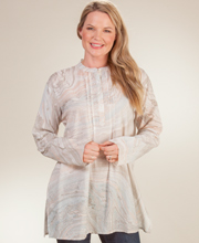 Tunic Tops for Women - Long Sleeve 100% Cotton Blouse in Marble