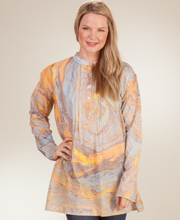 Pintucked Blouses - Long Sleeve 100% Cotton Tunic Top in Sandstone
