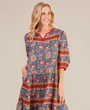 La Cera Muumuu Dress - 3/4 Sleeve Cotton Dresses in Mexicali Crimson