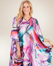 Long Caftans - Winlar Satin Charmeuse One Size Kaftan - Orchid Flash