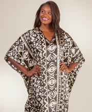 Caftans for Women - Winlar Satin Charmeuse One Size Kaftan - Aztec Mural