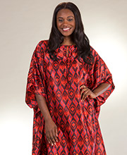 Winlar Satin Caftans - Satin Charmeuse One Size Lounger in Red Sunset
