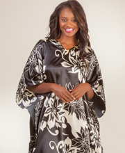 Sante Short Kaftans - One Size Satin Charmeuse Caftan in Floral Diva