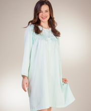 Brushed Back Satin Nightgown By Miss Elaine - Smocked Waltz in Mint