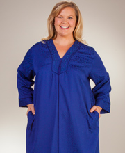 Plus Brushed Back Satin Robes - Miss Elaine Long Zip Front Robe in Royalty