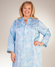 Miss Elaine Plus Zip Front Long Brushed Back Satin Robe in Blue Paisley