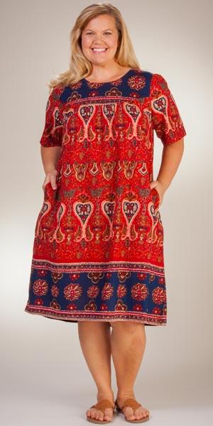 6a6faf304dc40 Plus La Cera Short Sleeve Cotton Float Dress - Lounger Caftan in Royal  Crimson