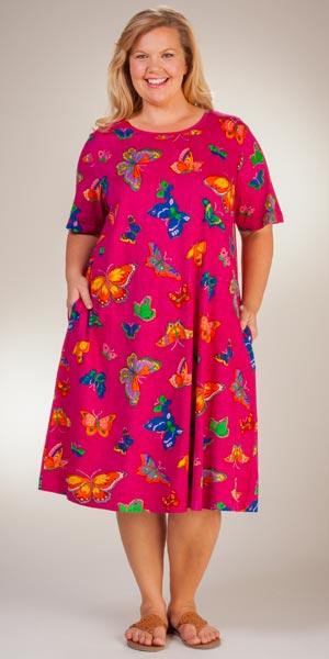Plus La Cera Dress - Cotton Knit Short Sleeve in Butterfly Bliss b4b5605d6