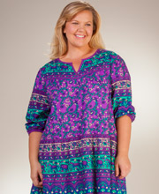 Cotton Plus La Cera 3/4 Sleeve Muumuu Lounger Dress in Himalayan Floral