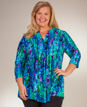 Plus La Cera Tunic Tops - 3/4 Sleeve Poly Blend Pleated Top - Wishing Well
