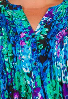 7cd6dc317dba4f Plus La Cera Tunic Tops - 3 4 Sleeve Poly Blend Pleated Top - Wishing Well