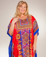 Plus Caftans - Sante Polyester Full Length Caftan - Coral Majesty