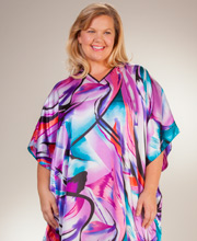 Women's Long Caftans - Winlar Satin Charmeuse One Size Kaftan - Orchid Flash