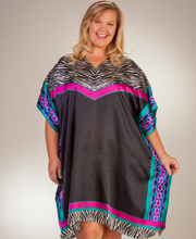 Plus Short Caftans - Sante Satin Poly V-Neck Kaftan Tunic in Fancy Zebra