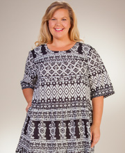 Plus La Cera Mid-Length Dress - Short Sleeve Cotton in Country Cottage