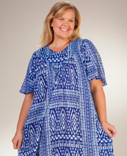Plus Cotton Beach Dress - Sante V-Neck Short Sleeve Lounger in Trinidad