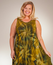 Plus Easy Fit Dress - Sleeveless Long Rayon Beach CoverUp - Everglades