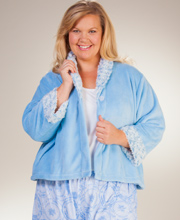 Plus Kayanna Bed Jackets - Cozy Fleece Swirl Shawl Collar In Blue